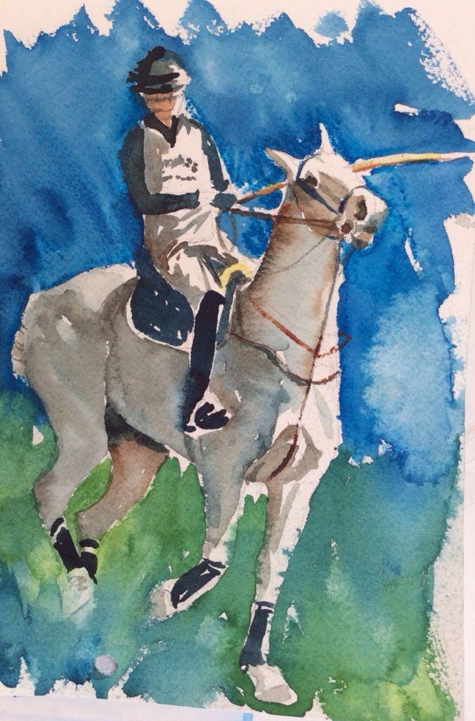 """Watercolor 6"""" x 8 1/2"""" $75 Polo, Polo Pony, Polo Player, Horse, horses"""