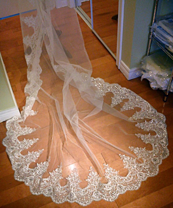 Mantilla Cathedral Veil With Gorgeous Alencon Lace & Sequin Embellishment. $180.00, via Etsy.