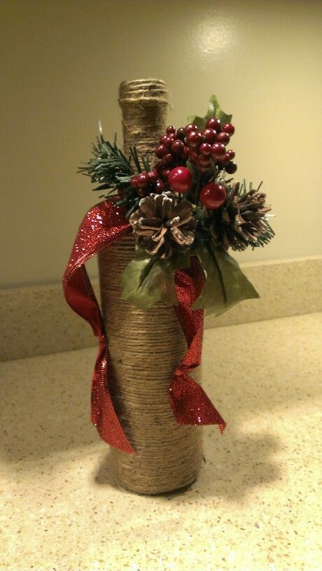 botella decorada de navidad