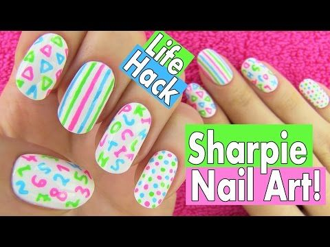 Sharpie Nails, Nail Art Life Hacks. 5 Easy Nail Art Designs for Back to School! - YouTube