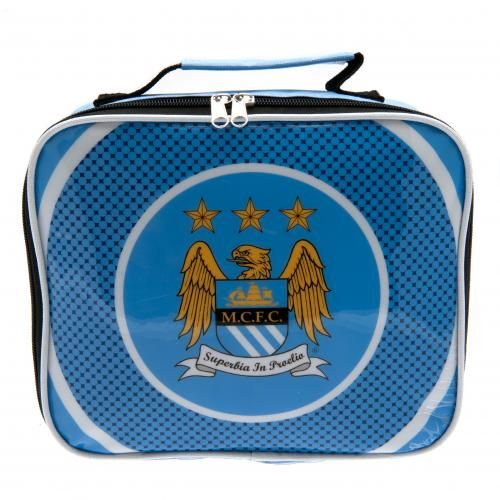 MANCHESTER CITY Lunch Bag in club colours and featuring the club crest. With name tag. Approx 24 cm x 20 cm x 7 cm. Official Licensed Manchester City gift.