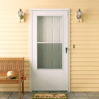 Emco 100 series 36 in white self storing storm door e1ss for Patio storm doors home depot