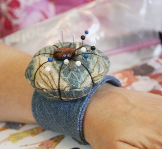 Pin Cushion with Denim Wristband