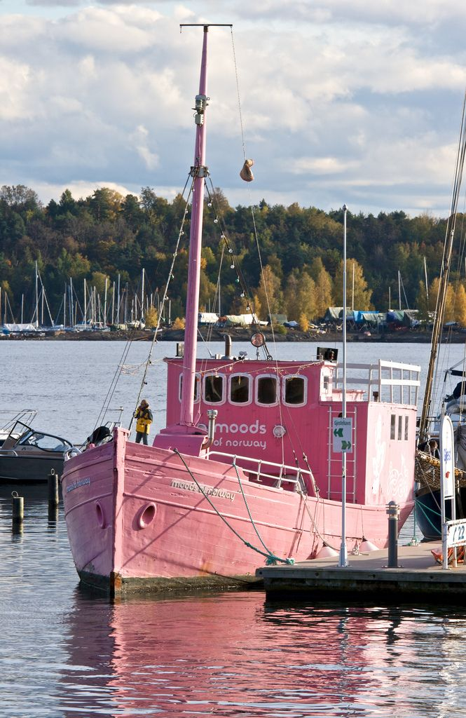 pink boat: Scallops, Things Pink, Houseboats, Pretty In Pink, Fish, Pink Boats, Rivers T-Shirt, Pink Paintings, Norway