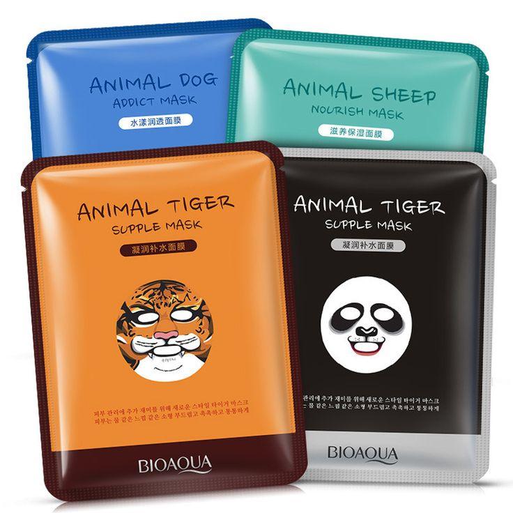 BIOAQUA 1 יחידות טיפוח עור כבשים/פנדה/כלב/מסכות מסכה לפנים לחות נמר חמוד בעלי החיים צבעים