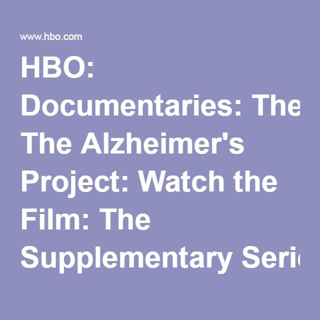 HBO: Documentaries: The Alzheimer's Project: Watch the Film: The Supplementary Series: Landing Page