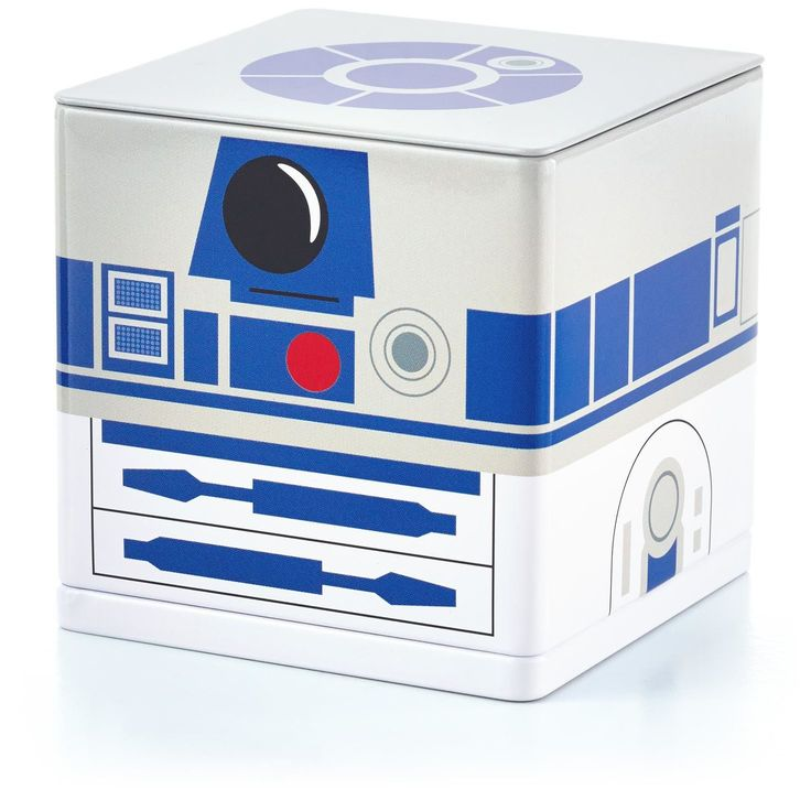 "R2-D2™ CUBEEZ Container  Fun home, office, bedroom, etc organizer.  Fill this metal container with those little odds and ends that usually end up scattered on your desk or floor.  3""W x 3""H x 3""D  $7.95"