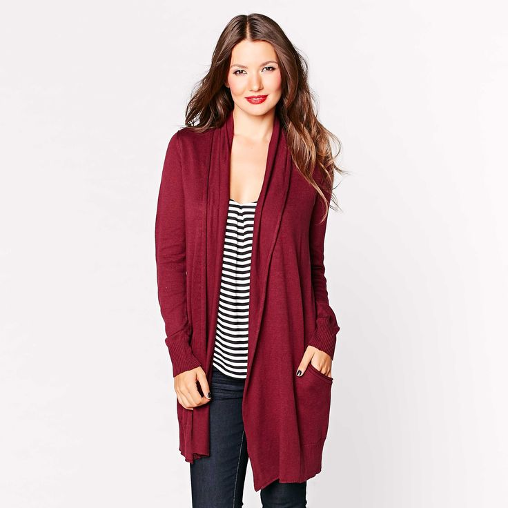 Cozy up in this slouchy burgundy sweater.