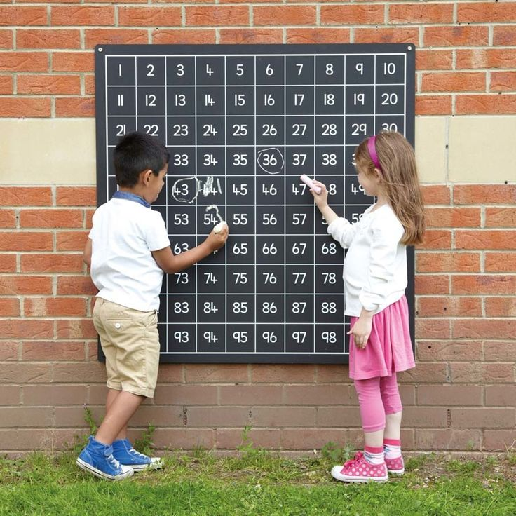 Get busy counting outdoors with this large chalkboard that has numbers 1-100.