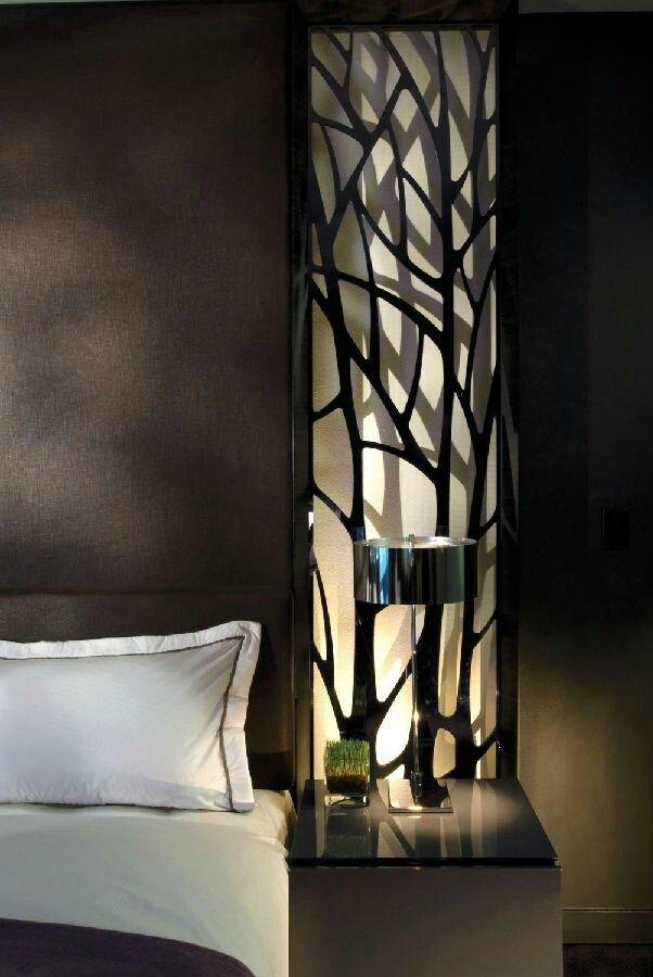 W hotel, bedside table. back-lit panel