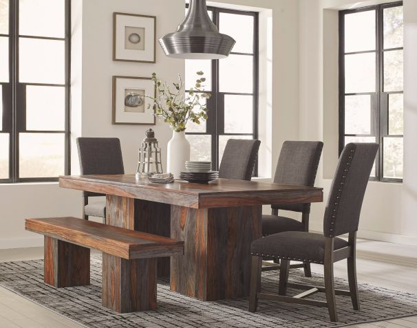 Baldridge Rustic Dining Set With Bench Solid Wood Dining Table Rustic Dining Room Rustic Dining Table