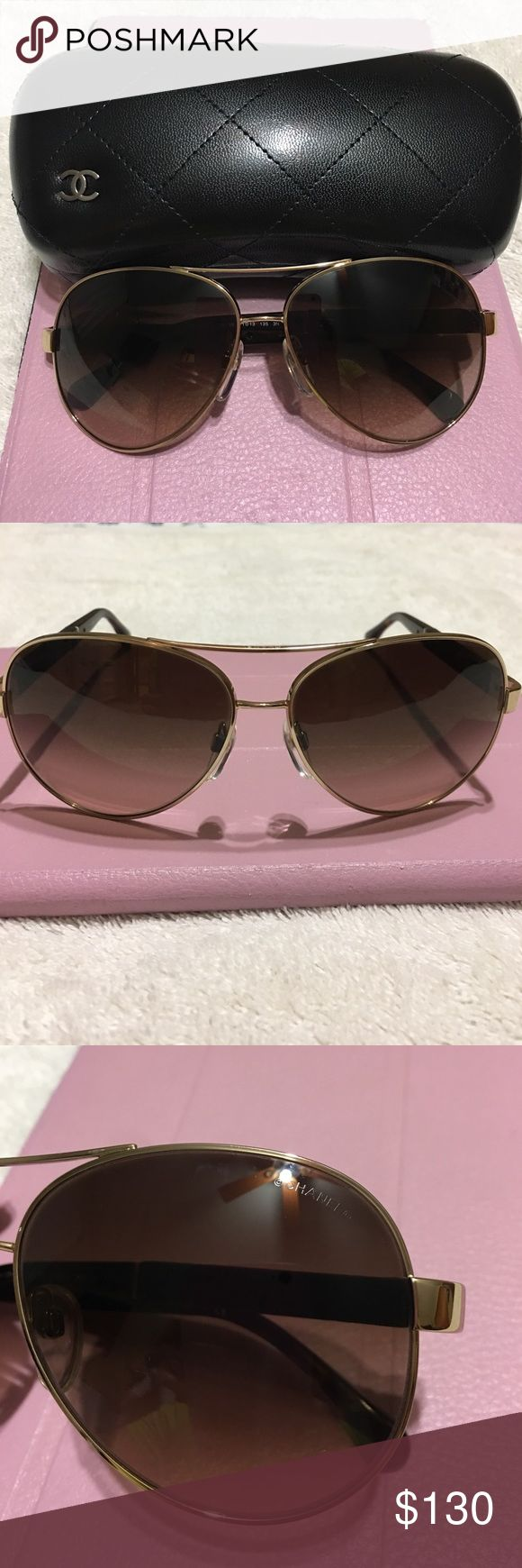 Authentic Chanel Aviators Sunglasses 4195Q 395/3B 100% Authentic Chanel Sunglasses excellent condition, just some minor scratches on lens and frame but not noticeable , comes with original case. Please see pictures carefully for details, please serious buyer, item sold as is and no return, thank you! CHANEL Accessories Sunglasses