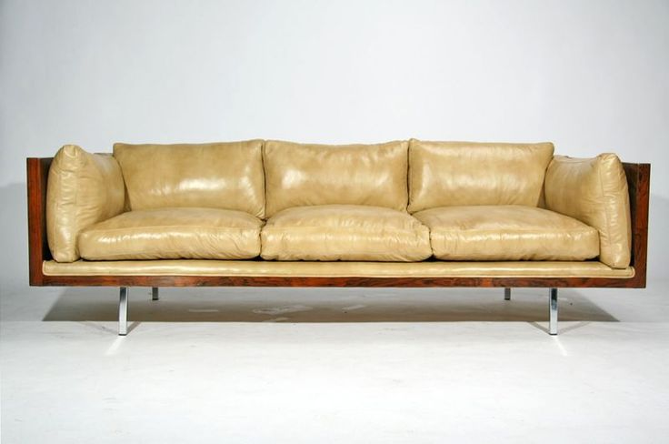 Rosewood case sofa by Milo Baughman in tan leather | From a unique collection of antique and modern sofas at http://www.1stdibs.com/furniture/seating/sofas/