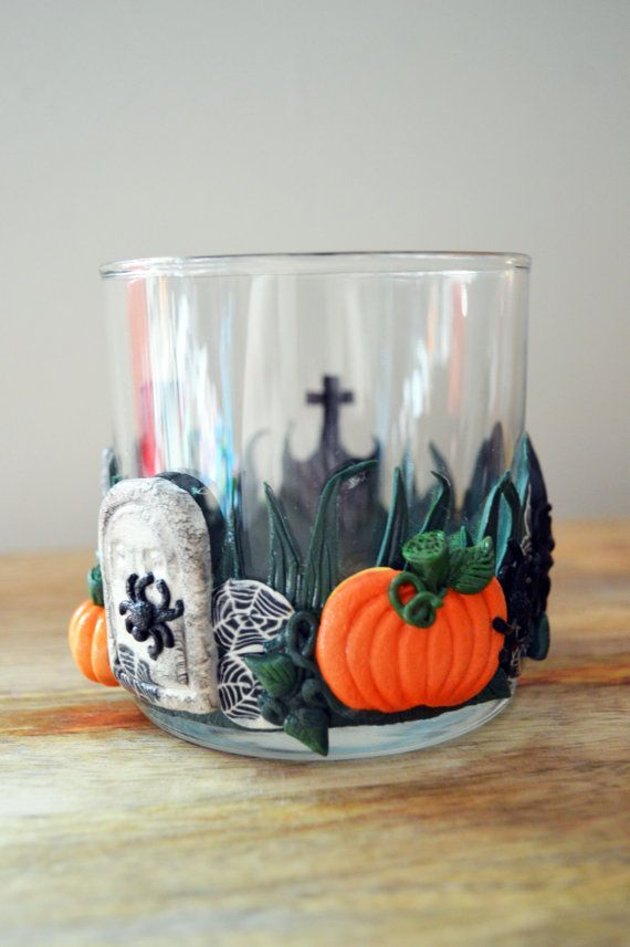 Polymer Clay Halloween votive by TimothyDormanDesigns on Etsy, $34.95
