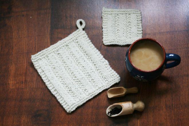 pot holder handmade knitted  knitted coaster