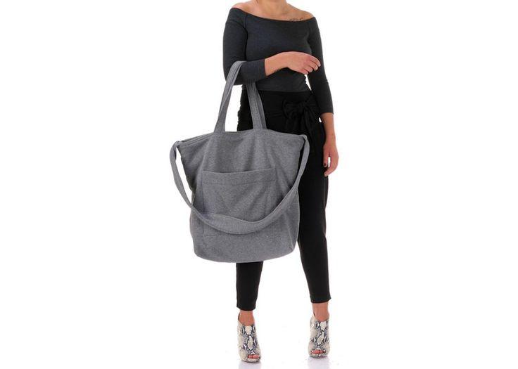 FreeBag - ciemnoszara, dresowa torba oversize - Freeshion - Torby na ramię