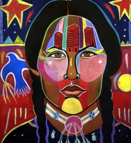 """""""Modern Girl, Traditional Mind Set"""" by Cree (First Nations) artist George Littlechild"""