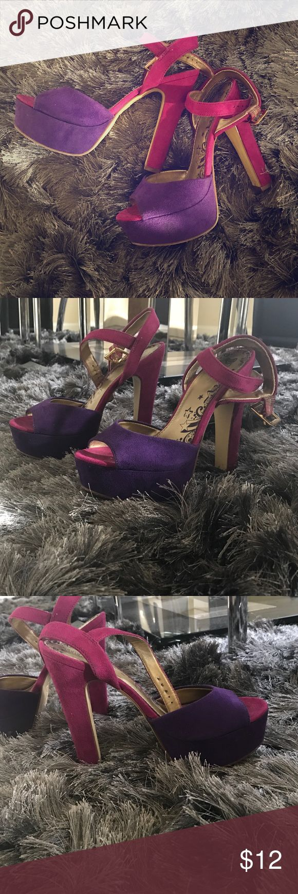 Fuchsia and Purple Sandals Beautiful and fashionable platform sandals Shoes