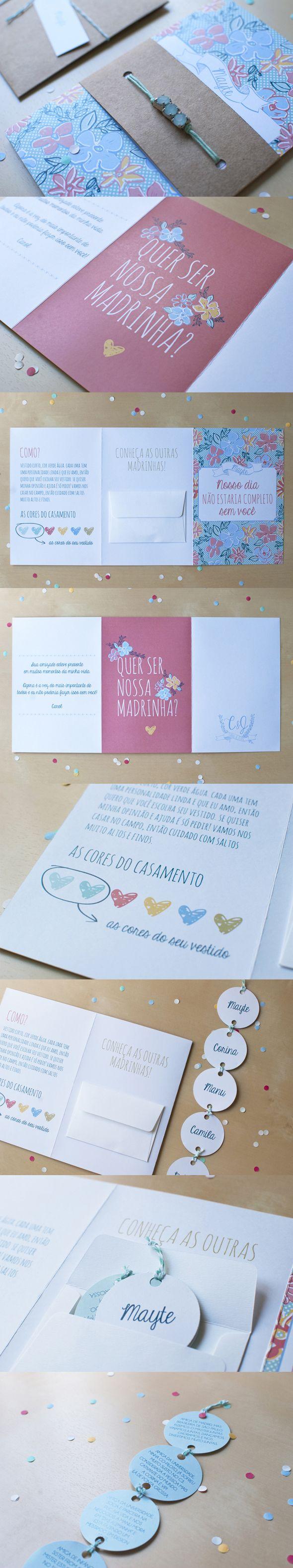 Convite lindo para madrinhas de casamento