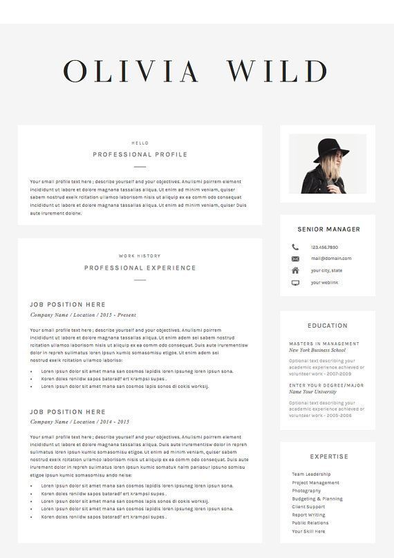 Resume Template 5 Pages Cv Template Cover Letter References For Ms Word Instant Digital Download The Ultra Chic Resume Template Cv Template Resume Design