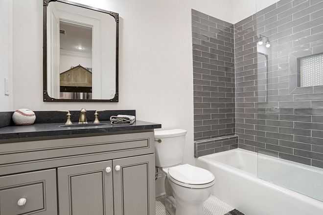 Boys Bathroom With Black Countertop Grey Vanity And Charcoal Grey Subway Tile Bathroom Remodel Cost Bathrooms Remodel Diy Bathroom Remodel