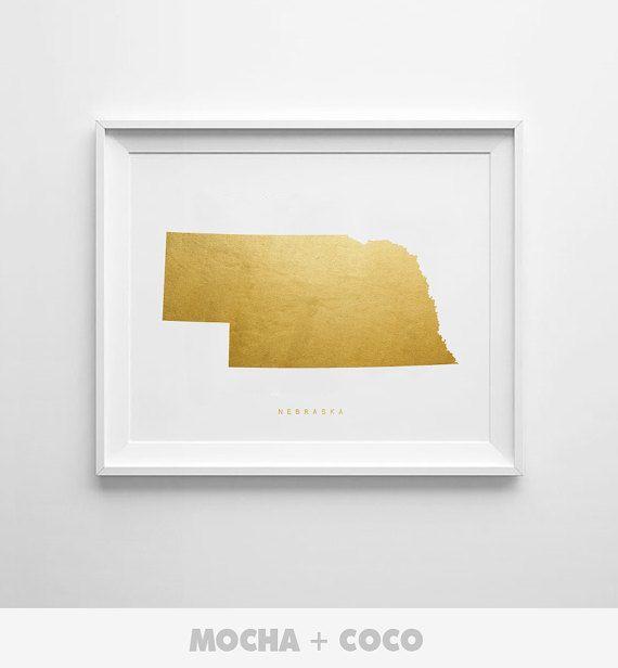 Nebraska Gold Map Print US State PosterState Map by MochaAndCoco