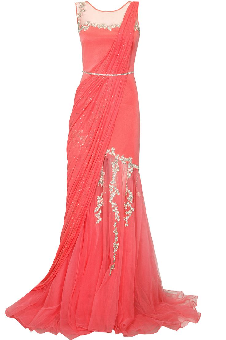 Coral red embroidered pre draped saree gown available only at Pernia's Pop Up Shop.