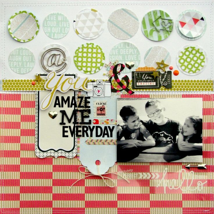 #papercraft #scrapbook #layout. You amaze me everyday by Nicole Nowosad using the modern+vintage collection www.cocoadaisy.com