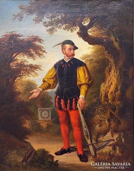 Jaroslav Cermák: Íjászmester 1850 ,magas kvalitású festménye