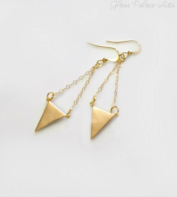 Chevron Earrings - Geometric Triangle Earrings