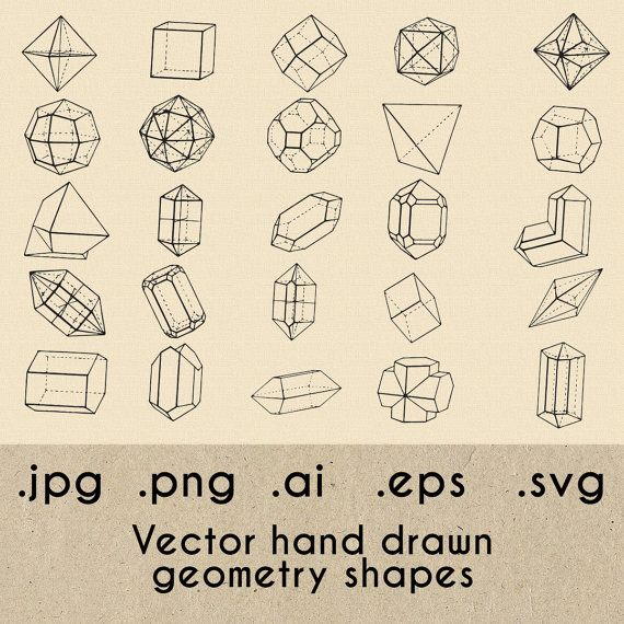 Hand drawn geometrical shapes , clipart, geometry clipart, jpg, png, svg, ai, eps, vintage illustration, cube, 3d shape, mathematical shapes
