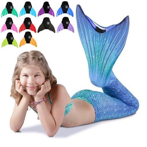 Set BLUE LAGOON Meerjungfrauen Kostüm KEIKI oder NUNUI Monoflosse (2-teilig)