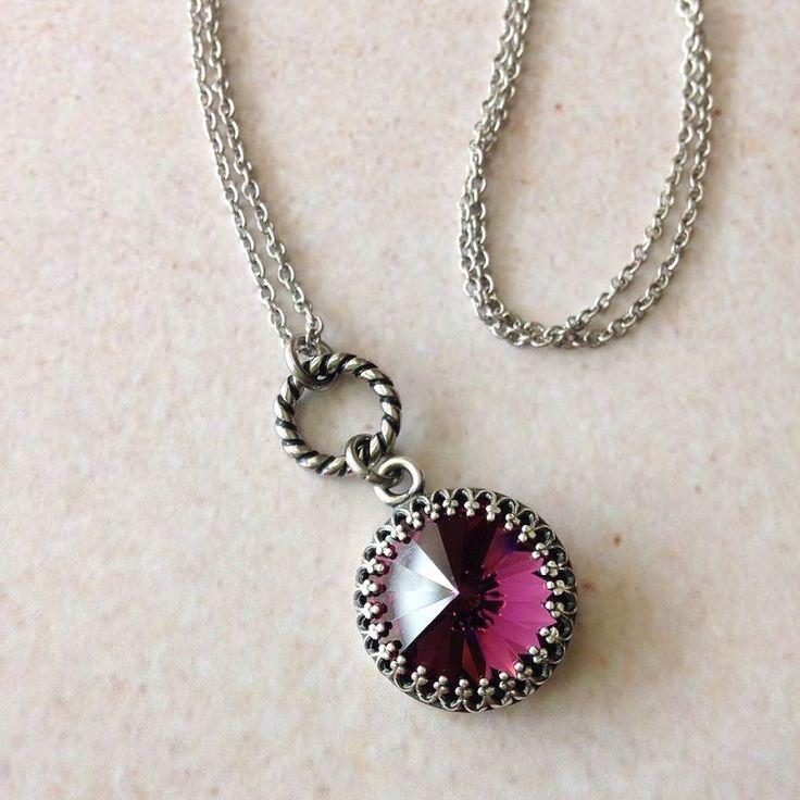 WORN ON: Law & Order SVU. Amethyst Swarovski Rivoli Crystal Necklace on Stainless Steel Chain — Mary Grace Jewellery