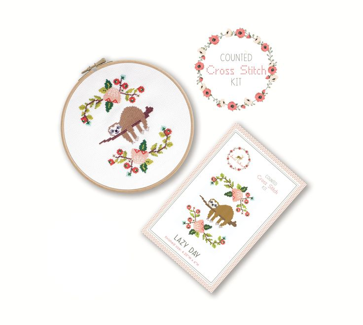 Stitch away stress as you create this adorable, lazy sloth cross stitch. Cross stitch is easy to learn and simple to create so it makes it a very relaxing craft that anyone can do! Just like adult coloring books and paint by number kits, cross stitch kits help you to focus on a simple task to tak