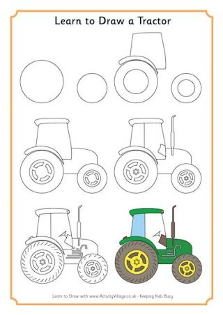 how to draw a TRACTOR tutorial easy pencil pattern idea