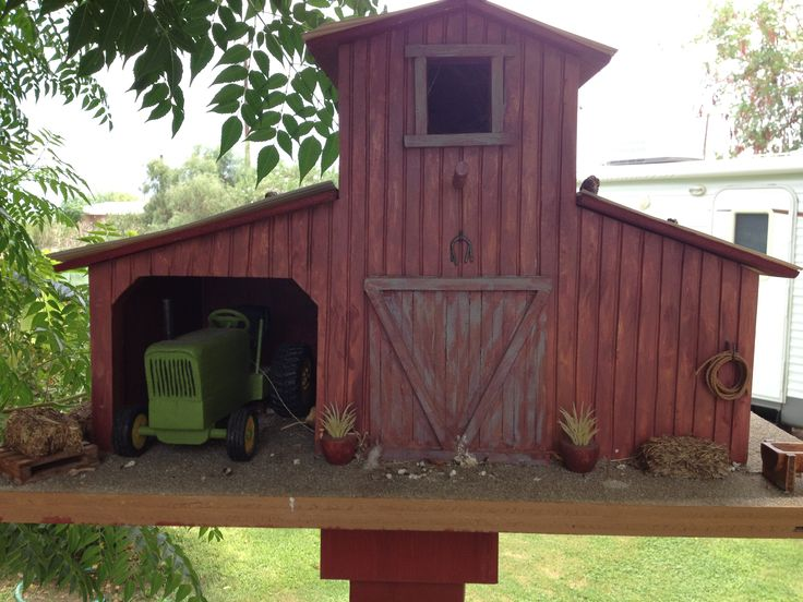 Barn Bird House with a Tractor