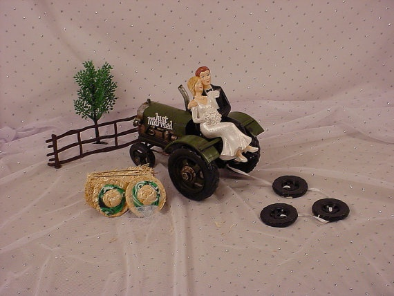 Green Tractor Country Bride Groom wedding cake topper!