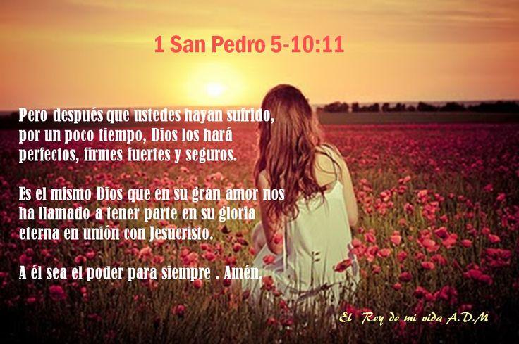 1 San Pedro 5-10:11 Pero después que ustedes hayan sufrido,  por un poco tiempo, Dios los hará perfectos, firmes fuertes y seguros.