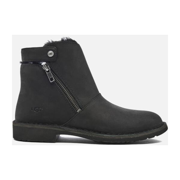 UGG Women's Kayel Leather Ankle Boots - Black (825 CNY) ❤ liked on Polyvore featuring shoes, boots, ankle booties, ankle boots, black, black bootie, black flat booties, leather bootie, black ankle booties and black leather ankle booties