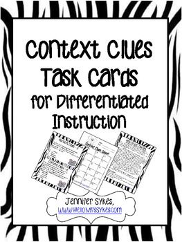 Context Clues - Task Cards, Scoot, Assessment