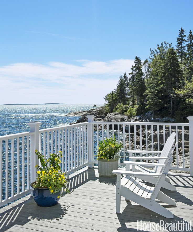 """When I'm up at the house, I spend most of my time on the porch,"" Cameron says. Classic Adirondack Beach chairs by Highwood.   - CountryLiving.com"
