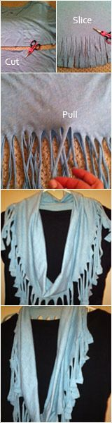 DIY tshirt scarf - spend zero dollars and have a new scarf!