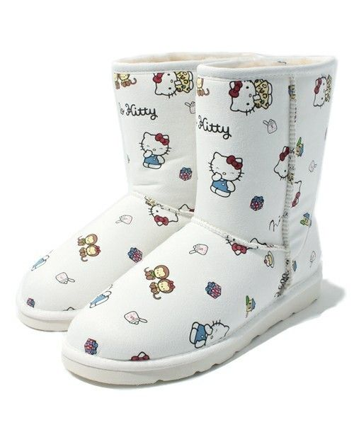 Hello Kitty x Nina mew Leather Mouton Boots Shoes Limited Japan Gift F/S SALE !