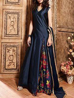 Buy Durga Emporio blue silk  Online, , LimeRoad