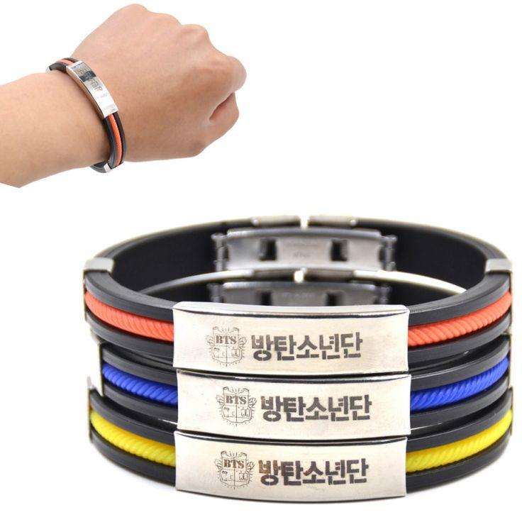 Lychee 1 pièce Chaude KPOP Mâle Groupe BTS Titanium Pendentif En Acier Silicone Bracelet Bangtan Garçons Fans de Soutien En Caoutchouc Bracelet