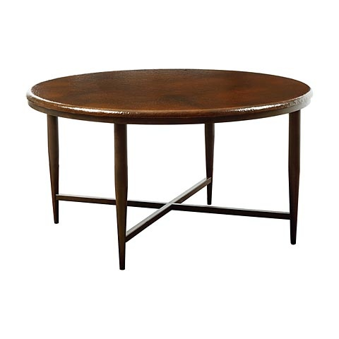 Bassett El Sol Round Cocktail Table Hammered Fired Copper Top Hand Forged Iron Legs