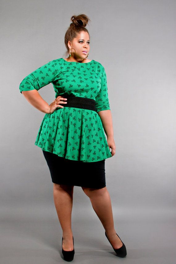 Polka dot peplum dress plus size
