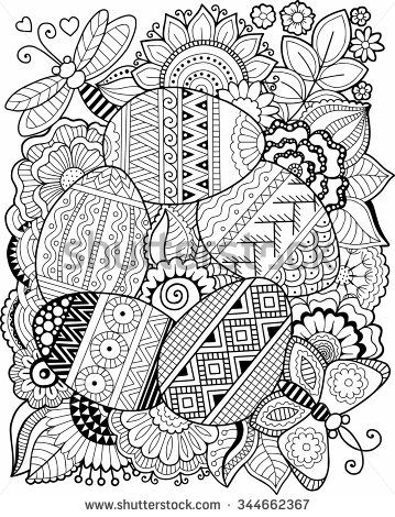 Vector coloring book for adult. Easter egg