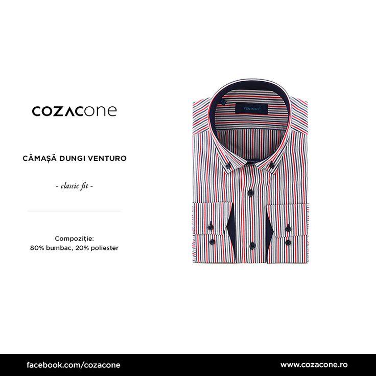 Ce spui de o cămașă cu dungi și guler butto-down, pentru costumul tău gri favorit? http://www.cozacone.ro/produse/detalii/camasa-dungi-venturo/