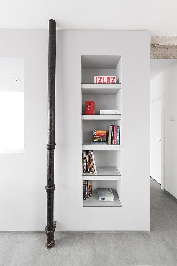 Minimalist Apartment Design: Superb Design by ArhitekturaBudjevac: Creative Bookshelf Design Minimalist Apartment Housing Black Pipe
